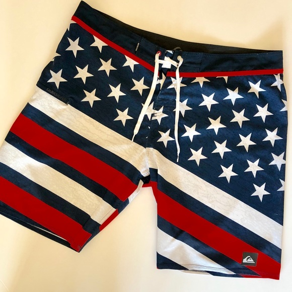 Quiksilver Other - Quicksilver American flag swim trunks. Size 38